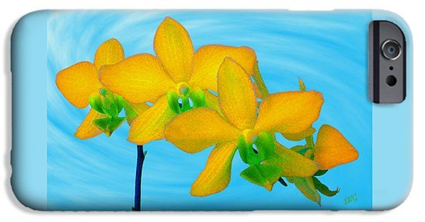Ben And Raisa iPhone Cases - Orchid In Yellow iPhone Case by Ben and Raisa Gertsberg