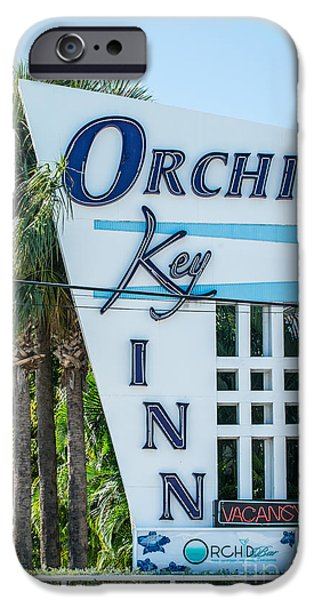 Ian Monk Photography iPhone Cases - Orchid Inn Sign Key West iPhone Case by Ian Monk