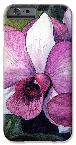 Floral Still Life Paintings iPhone Cases - Orchid iPhone Case by Irina Sztukowski