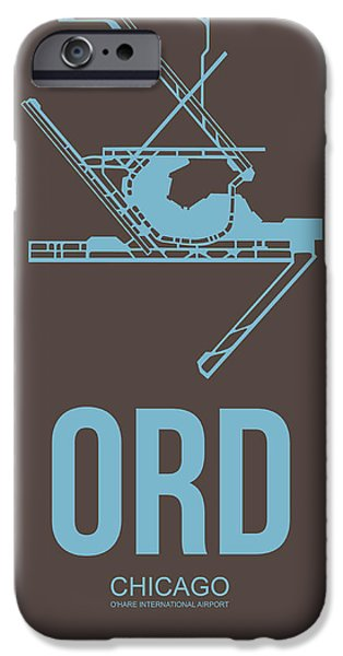 Town Mixed Media iPhone Cases - ORD Chicago Airport Poster 2 iPhone Case by Naxart Studio
