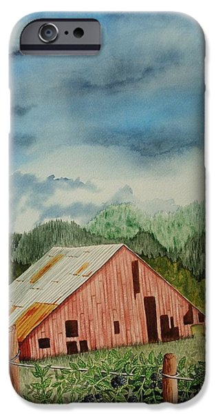 Misty Prints iPhone Cases - Oregon Barn iPhone Case by Katherine Young-Beck