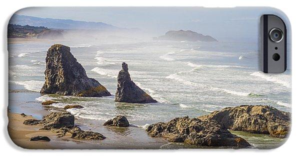 Beach Landscape Tapestries - Textiles iPhone Cases - Oregon Coast - Bandon iPhone Case by Dennis Bucklin