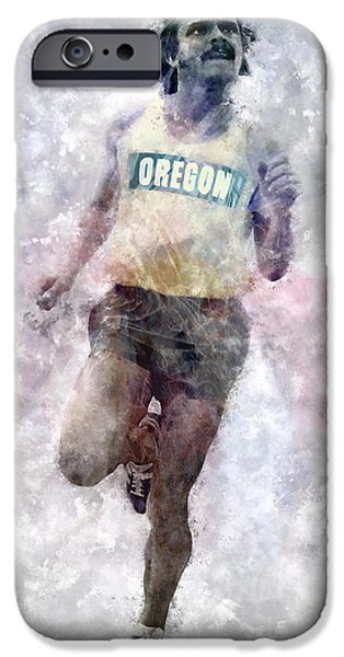 Nike iPhone Cases - Oregon Ducks Steve Prefontaine iPhone Case by Daniel Hagerman