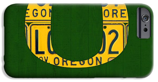 Oregon iPhone Cases - Oregon Ducks Vintage Recycled License Plate Art iPhone Case by Design Turnpike