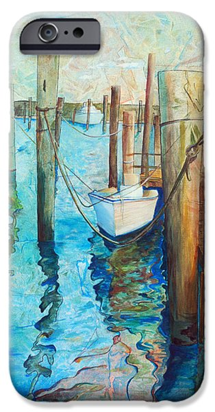 Boat Paintings iPhone Cases - Oregon Inlet iPhone Case by Arlissa Vaughn