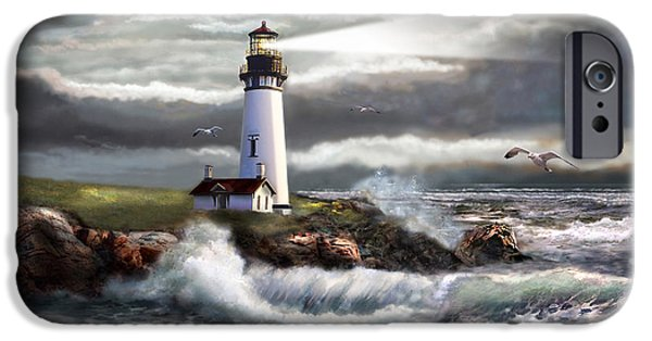 Beach Art iPhone Cases - Oregon Lighthouse Beam of hope iPhone Case by Gina Femrite