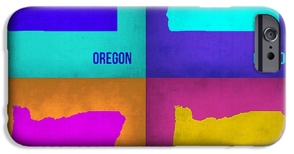 Oregon iPhone Cases - Oregon Pop Art Map 1 iPhone Case by Naxart Studio