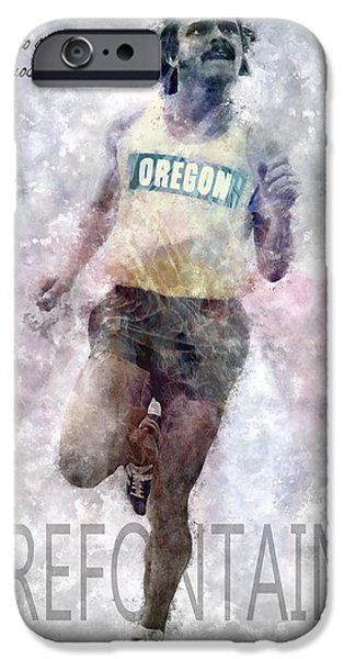 Nike iPhone Cases - Oregon Running Legend Steve Prefontaine iPhone Case by Daniel Hagerman
