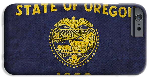 Universities Mixed Media iPhone Cases - Oregon State Flag Art on Worn Canvas iPhone Case by Design Turnpike