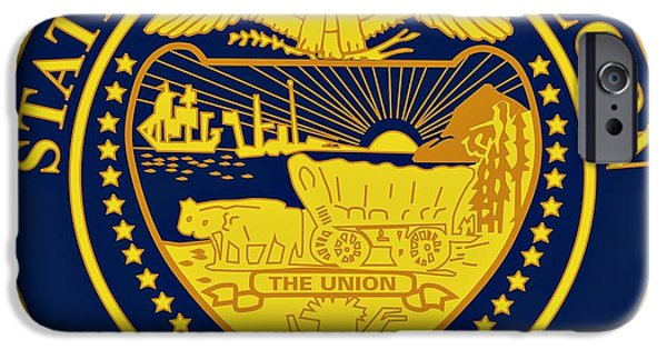Constitution iPhone Cases - Oregon State Seal iPhone Case by Movie Poster Prints