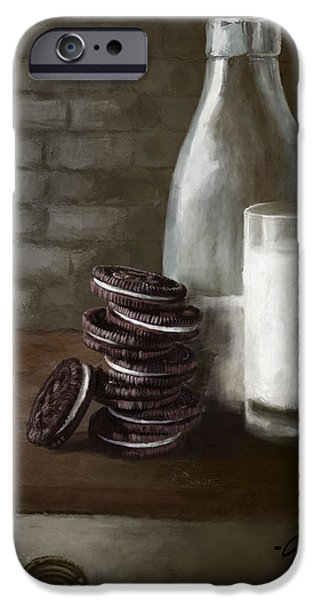 Oreos iPhone Cases - Oreos and Milk iPhone Case by Jenny Berry