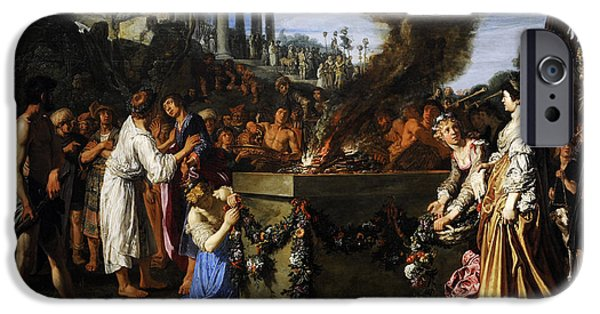 Basket iPhone Cases - Orestes And Pylades Disputing At The Altar, 1614, By Pieter Lastman C.1583-1633 iPhone Case by Bridgeman Images