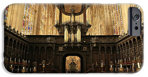 Wood Carving iPhone Cases - Organ and Choir - Kings College Chapel iPhone Case by Stephen Stookey