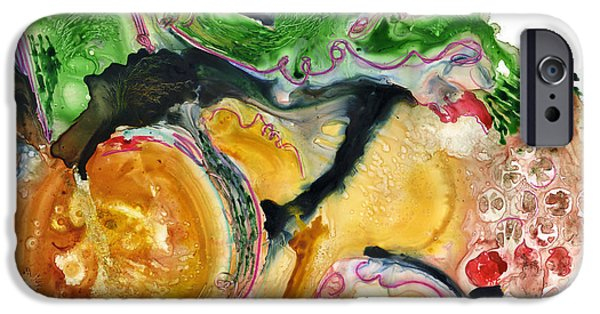 Conceptual Paintings iPhone Cases - Organic Abstract Art iPhone Case by Blenda Studio