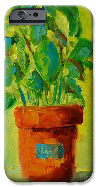 Interior Still Life iPhone Cases - Organic Basil Plant Still Life iPhone Case by Patricia Awapara