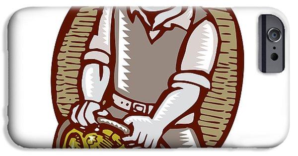 Block Prints iPhone Cases - Organic Farmer Harvest Basket Woodcut Linocut iPhone Case by Aloysius Patrimonio