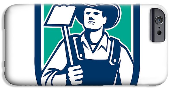 Agricultural iPhone Cases - Organic Farmer Holding Grab Hoe Shield iPhone Case by Aloysius Patrimonio