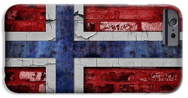 Oslo iPhone Cases - Organic Norway Flag iPhone Case by Daniel Hagerman