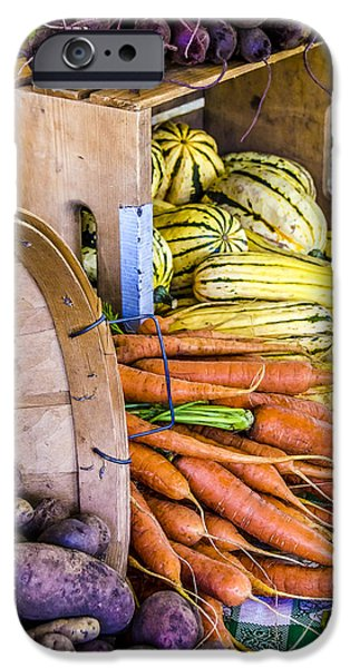 Wooden Crate iPhone Cases - Organic Vegetable Farm Stand iPhone Case by Julie Palencia