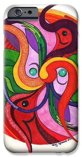 Fertility Paintings iPhone Cases - Orgasmic Flight iPhone Case by Suzi Gessert