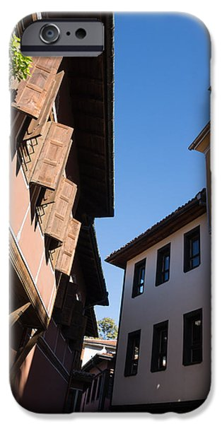 Overhang iPhone Cases - Oriel Windows and Renaissance Facades in Old Town Plovdiv Bulgaria iPhone Case by Georgia Mizuleva