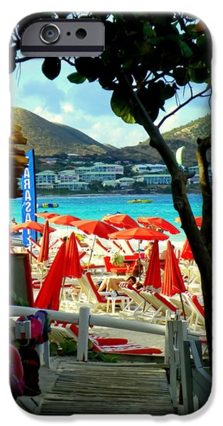 Red Mangroves iPhone Cases - Orient Beach Peek iPhone Case by Karen Wiles