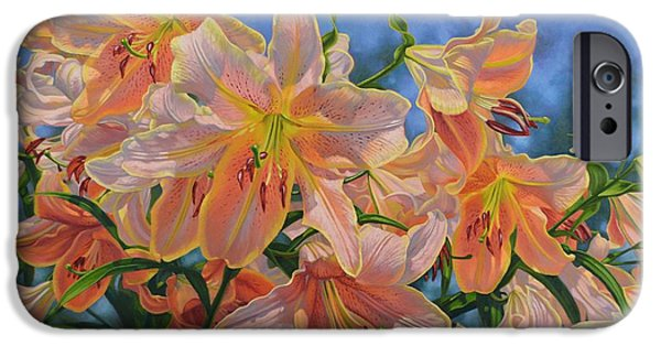 Chicago Paintings iPhone Cases - Oriental Lilies 2 Red Hot iPhone Case by Fiona Craig