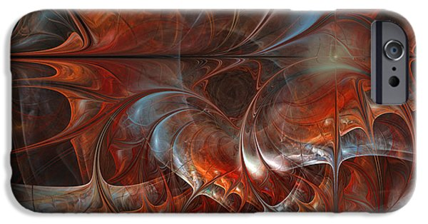 Abstract Flowers Images iPhone Cases - Oriental Sumptuousness-Floral Fractal Design iPhone Case by Karin Kuhlmann