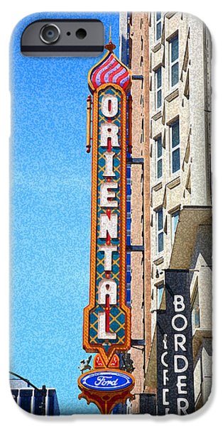Facade Mixed Media iPhone Cases - Oriental Theater with Sponge Painting Effect iPhone Case by Frank Romeo
