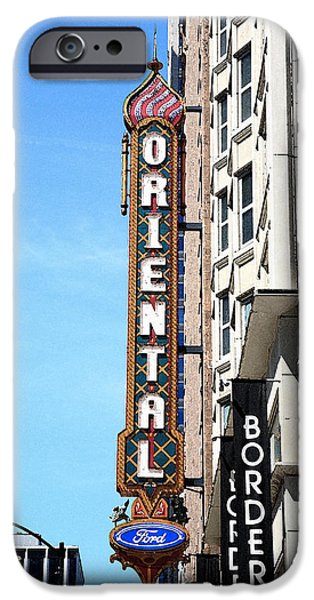 Facade Mixed Media iPhone Cases - Oriental Theater with Watercolor Effect iPhone Case by Frank Romeo