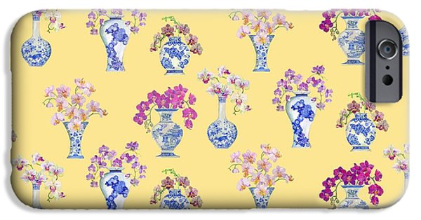Oriental Paintings iPhone Cases - Oriental vases with Orchids iPhone Case by Kimberly McSparran