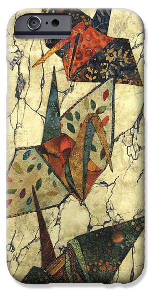 Nature Abstract Tapestries - Textiles iPhone Cases - Origami Cranes iPhone Case by Lynda K Boardman
