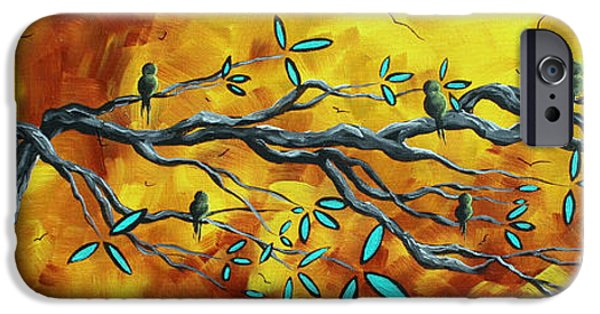 Rust iPhone Cases - Original Bird Landscape Art Contemporary Painting AFTER THE STORM by MADART iPhone Case by Megan Duncanson