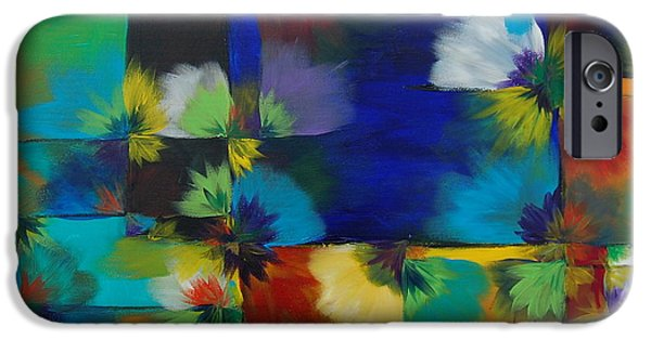 Kaleidoscopic Paintings iPhone Cases - Original Blossom Query iPhone Case by Sara Gardner