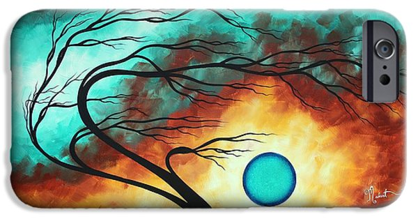Abstract Style iPhone Cases - Original Bold Colorful Abstract Landscape Painting FAMILY JOY I by MADART iPhone Case by Megan Duncanson
