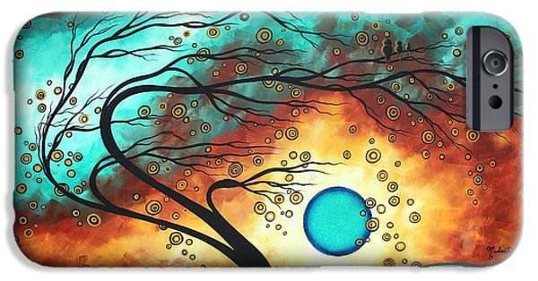 Baby Bird iPhone Cases - Original Bold Colorful Abstract Landscape Painting FAMILY JOY II by MADART iPhone Case by Megan Duncanson