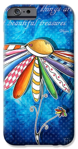 Joyful Drawings iPhone Cases - Original Hand Painted Daisy Quilt Painting Inspirational Art Quote by Megan Duncanson iPhone Case by Megan Duncanson