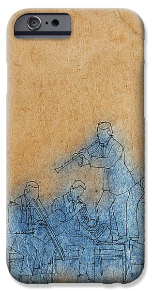 Piano Drawings iPhone Cases - Original Jazz Band Portrait iPhone Case by Pablo Franchi