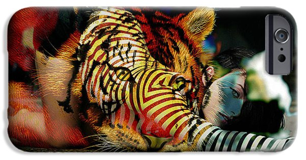 Tigers iPhone Cases - Original Olivia Wild and The Tiger Painting iPhone Case by Marvin Blaine