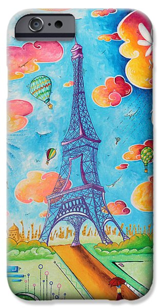 Best Sellers -  - Hot Air Balloon iPhone Cases - Original Paris Eiffel Tower Pop Art Style Painting Fun and Chic by Megan Duncanson iPhone Case by Megan Duncanson