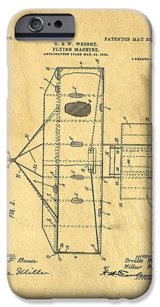 Flight Drawings iPhone Cases - Original Patent for Wright Flying Machine 1906 iPhone Case by Edward Fielding