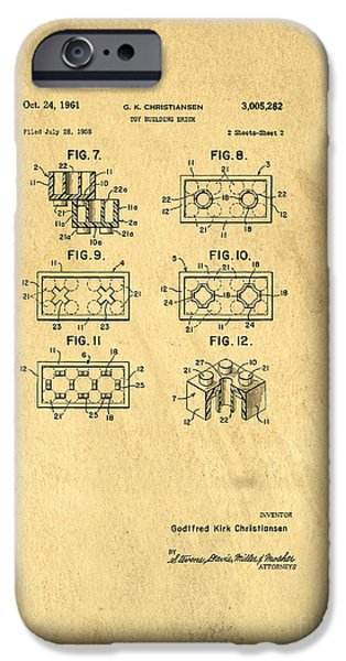 Lego iPhone Cases - Original Patent for Lego Toy Building Brick iPhone Case by Edward Fielding
