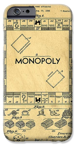 Business Drawings iPhone Cases - Original Patent for Monopoly Board Game iPhone Case by Edward Fielding