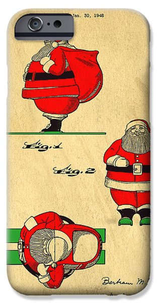 Santa Drawings iPhone Cases - Original Patent for Santa On Skis Figure iPhone Case by Edward Fielding