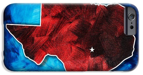 Red White And Blue Mixed Media iPhone Cases - Original Rich Colorful Red White and Blue Texas Map Outline by Megan Duncanson iPhone Case by Megan Duncanson