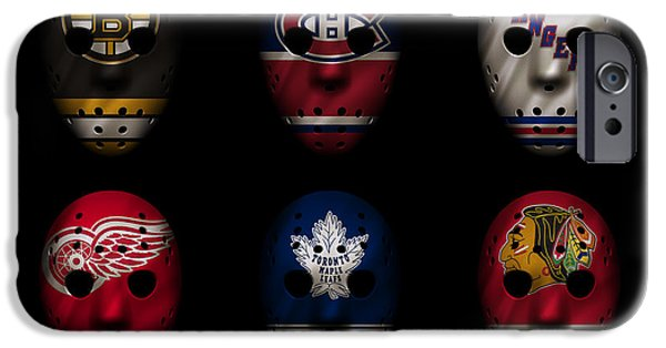Skate iPhone Cases - Original Six Jersey Mask iPhone Case by Joe Hamilton