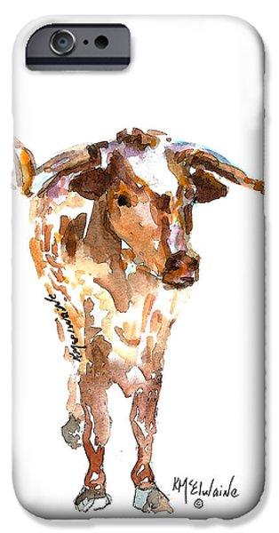 Kathleen iPhone Cases - Original Texas Longhorn Standing iPhone Case by Kathleen McElwaine