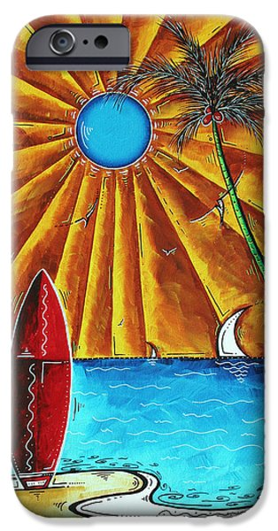 Sail Board iPhone Cases - Original Tropical Surfing Whimsical Fun Painting WAITING FOR THE SURF by MADART iPhone Case by Megan Duncanson