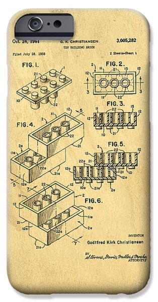 Drawn iPhone Cases - Original US Patent for Lego iPhone Case by Edward Fielding