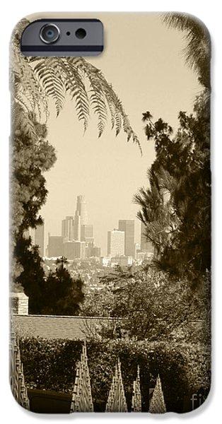 Pastel Pyrography iPhone Cases - Original Vintage Urban Landscape Deco Reproduction Downtown Los Angeles Trees Retro Unique Fine Art iPhone Case by Marie Christine Belkadi